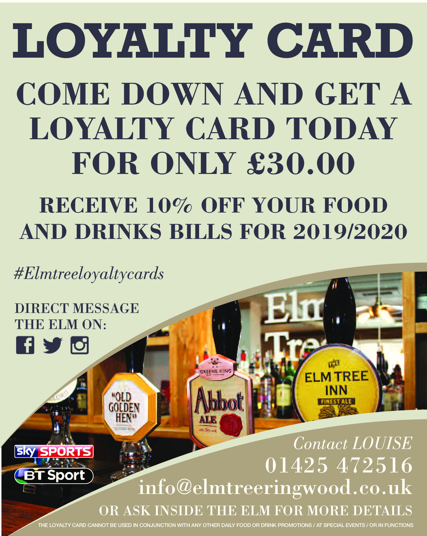 loyalty card scheme at the elm tree ringwood